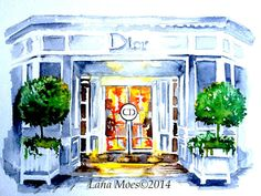 Paris Dior Inspired Art Print from Original Watercolor by LanasArt