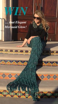 Sparkling tiny sequins and beautifully knit teal mermaid scales. Stunning, gorgeous, awesome. 2 winners announced April 21, Enter now!