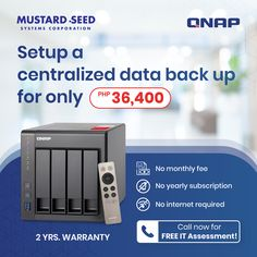 Setup a centralized data back up for only Php 36,400 ✓ No monthly fee ✓ No yearly subscription ✓ No internet required 2 yrs warranty Call now for FREE IT Assessment! For more info, CONTACT: Jopper Guinto 8535 7333 loc.380 +63 917 820 4440 jopper@mseedsystems.com #QNAP #databackup Data Backup, Linux, Assessment, Quad, Yearly, Storage, Internet, Free, Medium