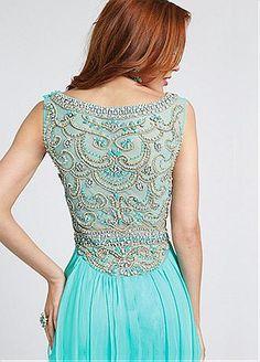 Buy discount Stunning Chiffon Bateau Neckline Natural Waistline A-line Prom Dress with Beadings & Rhinestones at Dressilyme.com