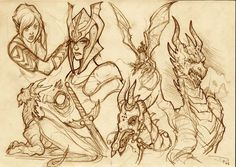 sketches by DenisM79 A warrior with her dragon.She is from Cronache del mondo emerso,a book by Licia Troisi.