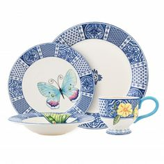 The Courtyard Dinnerware Set is a classic setting of dishes. The traditional blue patterns & blue scroll combine with colorful whimsy to create a perfect combination for your table. This Courtyard 4 Piece Dinnerware Set is made of stoneware, and includes: Dinner Plate, Salad Plate, Soup Bowl & Cup.