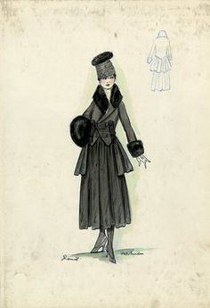 """""""Tailored suit, Doucet, Fall 1916. Dark grey tea length skirt, full; matching jacket with mid-thigh length jacket, full skirt, short in front, two sets of decorative buttons, black fur collar and cuffs; black fur muff; dark grey hat with black fur top. (Bendel Collection, HB 018-06)"""", 1916. Fashion sketch. Brooklyn Museum, Fashion sketches. (Photo: Brooklyn Museum, SC01.1_Bendel_Collection_HB_018-06_1916_Doucet_SL5.jpg)"""