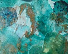 seahorse mixed media collage in blue green by Mirael on Etsy, $50.00