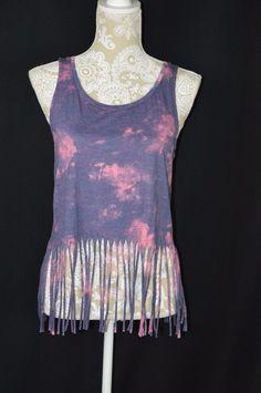 Mason & Mackenzie Womens Medium Purple Pink Tie Dye Tank Crop Top Fringe NEW #MasonMackenzie #TankCami #Casual