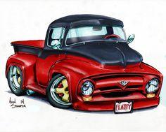Fury by ADStamper on DeviantArt Cartoon Sketches, Cartoon Art, Weird Cars, Cool Cars, Custom Trucks, Custom Cars, Cool Car Drawings, Foto 3d, Pt Cruiser