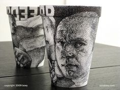 Beautiful Art Drawn on Disposable Cups