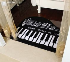 """Music Always Be With You"" Piano keyboard rug"
