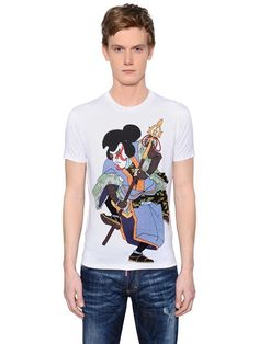 DSQUARED2 Samurai Printed Cotton Jersey T-Shirt, White. #dsquared2 #cloth #t-shirts