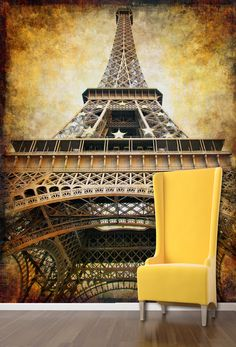 View of the Eiffel Tower France Pinterest Wall murals Tower