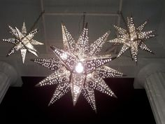 Lighted Moravian Stars- Tin Stars and Starlights, and lighted decorative glass star fixtures.