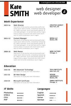 Find the Red Web Designer Resume Template on www.cvfolio.com