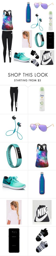 """Fitness//Leggings"" by maggieoquinn ❤ liked on Polyvore featuring NIKE, Dove, Bose, Ray-Ban, Fitbit, WithChic, S'well, Samsung and Victoria's Secret"