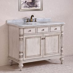Carrara White Marble Top Single Sink Bathroom Vanity in Antique White - Overstock