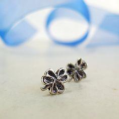 Shamrock earrings Sterling Silver studs by BarronDesignStudio
