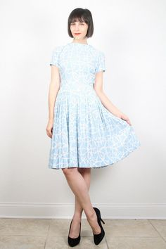 Vintage 60s Dress 1960s Dress Sky Blue Pale by ShopTwitchVintage
