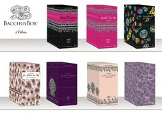 Bag in boxes made by Escada, this packaging allies all the functions of a bag in box (practicity of use,storage,protection and preservation), a great visual impact (colourfull boxes) and a positionning expression (wine of a great quality).
