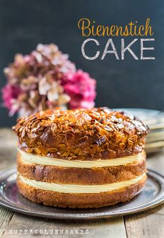 Bienenstich: Bee Sting Cake  (a yeast cake with caramelized almond topping filled with rich vanilla custard)
