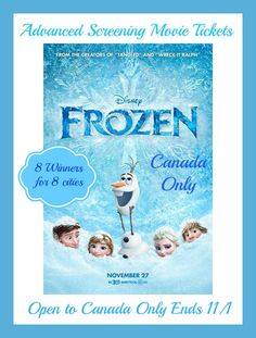 Disney's Movie Frozen Advance Screening Tickets 8 Winners Ends 11/1