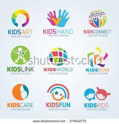Kids child logo vector set design - stock vector                                                                                                                                                      More