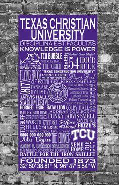 TCU Texas Christian University Typography Art by JadedBliss, $395.00