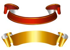 Gold and Red Banners Transparent PNG Picture