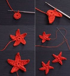 Crochet Star Fish with Beads Freeform Crochet, Crochet Motif, Crochet Stitches, Knit Crochet, Crochet Patterns, Crochet Stars, Crochet Flowers, Crochet Collar Pattern, Crochet Sea Creatures