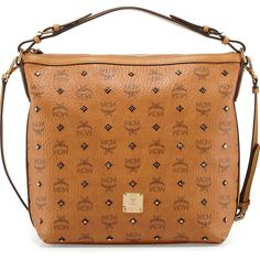 MCM Gold Visetos Hobo Bag (1,155 CAD) ❤ liked on Polyvore featuring bags, handbags, shoulder bags, cognac, purse, gold shoulder bag, cognac purse, mcm handbags and gold purse