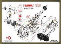 JAWA Babetta 225 blokk robbantott ábrája