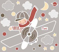 Vinilo infantil avioneta para Toni