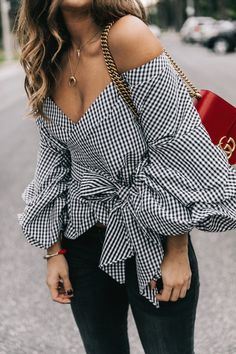 How To Wear The Striped Off Shoulder Ruffle Blouse Trend