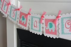 """Baby Shower Coral Turquoise & White Blue Ikat Print Elephant """"It's a Girl"""" Baby Shower Banner - Party Pack Specials & Matching Items Available - Favor Tags, Cupcake Toppers etc."""