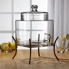 Glass Drink Dispenser with Metal Stand
