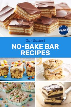 You don't need to turn on the oven to get a batch of bars that taste like a little square of heaven! These recipes are simple enough to do with kids, and yummy enough to go back for seconds! No Bake Desserts, Just Desserts, Delicious Desserts, Yummy Food, Baking Desserts, Cake Baking, Tasty, Baking Recipes, Snack Recipes