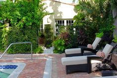 ....just steps from your private patio awaits you a beautiful pool....