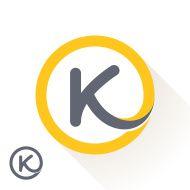 K letter with round line logo. vector art illustration