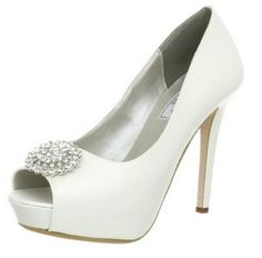 Doris Platform #Bridal Pumps by Liz Rene Couture in white silk and satin