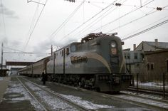 Pennsylvania Railroad GG1 #4857 at South Amboy, New Jersey on December 30, 1955.