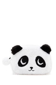 A fuzzy knit makeup bag featuring a panda bear design, protruding ears, a high-polish zip-up top, and a pom-pom accent.