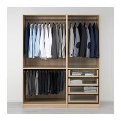 IKEA - PAX, Wardrobe, 175x58x201 cm, , 10 year guarantee. Read about the terms in the guarantee brochure.You can easily adapt this ready-made PAX/KOMPLEMENT combination to suit your needs and taste using the PAX planning tool.If you want to organise inside you can complement with interior organisers from the KOMPLEMENT series.Adjustable feet make it possible to compensate any irregularities in the floor.
