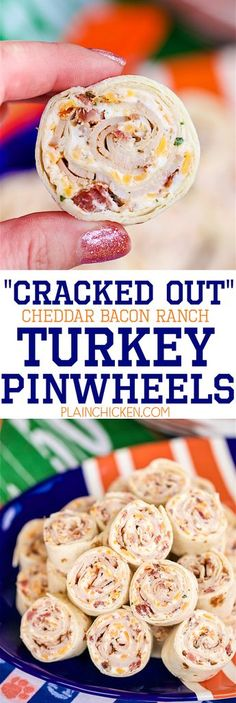 Cracked Out Turkey Pinwheels - I am ADDICTED to these sandwiches! Cream cheese, cheddar, bacon, Ranch and turkey wrapped in a tortilla. Can make ahead of time and refrigerate until ready to eat. Perfect for parties and tailgating!!