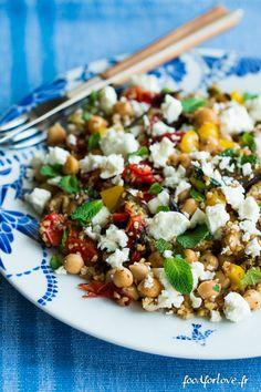 salade boulgour légumes grilles pois chiche feta menthe