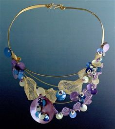 wire neck collar with shells, pearls, and wire mesh... OMG, an illusion style necklace with wire mesh... Cool!