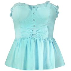 PEPLUM TOP WITH FRILL BOW ($20) ❤ liked on Polyvore featuring tops, shirts, tank tops, blue, peplum top, flounce shirt, peplum shirt, ruffle top and blue ruffle shirt