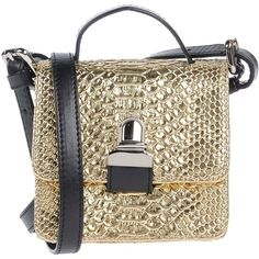 Mm6 By Maison Margiela Handbag (£130) ❤ liked on Polyvore featuring bags, handbags, shoulder bags, gold, brown satchel handbag, brown satchel bag, man bag, handbags shoulder bags and hand bags