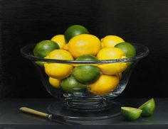 Still Life with Lemons and Limes in a Crystal Bowl, Knife and Cut Lime