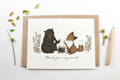 10 Thank You Very Much Notecards  Bear and Fox by whimsywhimsical, $16.00