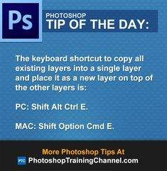 The keyboard shortcut to copy all existing layers into a single layer and place it as a new layer on top of the other layers is:PC: Shift Alt Ctrl E.MAC: Shift Option Cmd E.