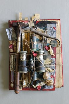 Assemblage by JérômeCavailles Mix Media, Mixed Media Collage, Collage Art, Steampunk, Found Object Art, Assemblage Art, Polymer Clay Art, Aboriginal Art, Box Art