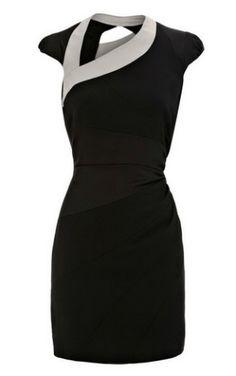 Karen Millen Asymmetric Body Con Dress Black by cherrylynne.enriquez